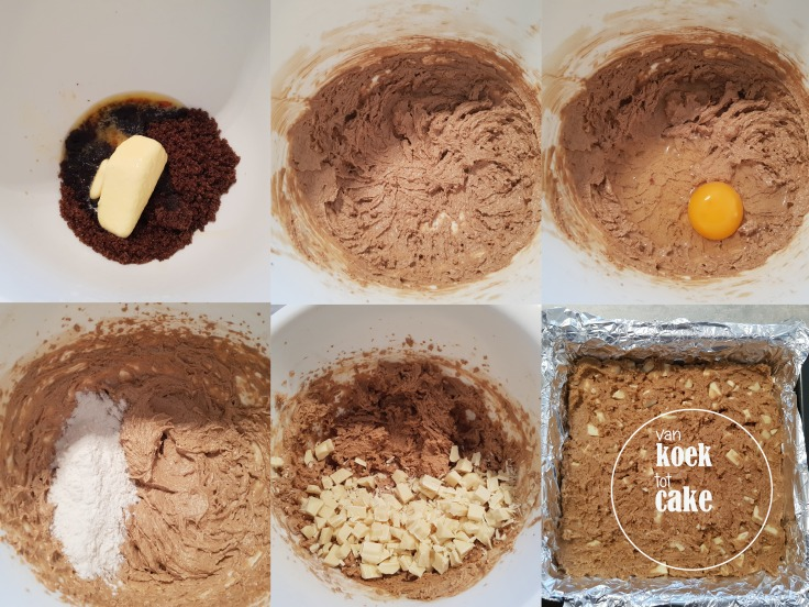 recept bereiding blondies met witte chocolade
