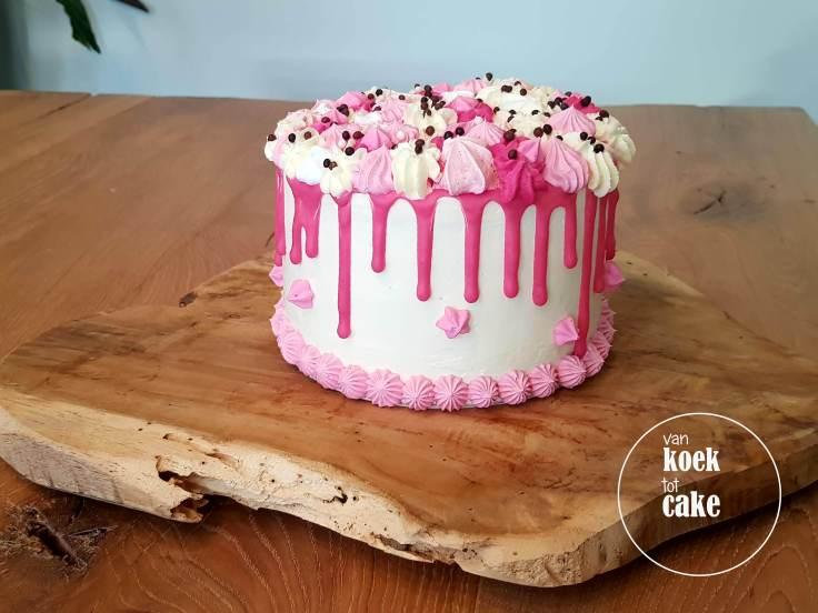 verjaardagstaart taart babyshower kraamfeest geboorte meisje roze