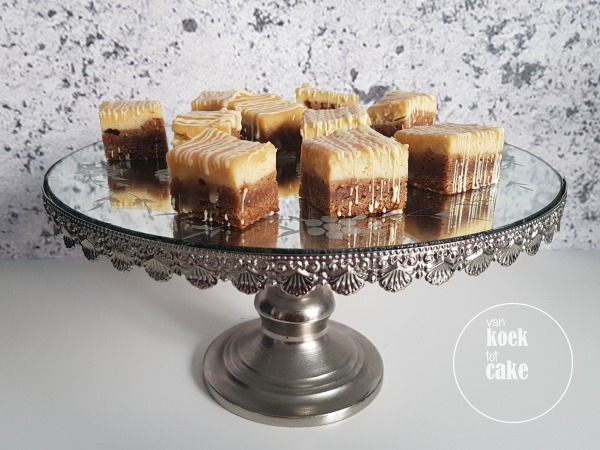 recept cheesecake bar chewy bodem van koek tot cake karamel witte chocolade
