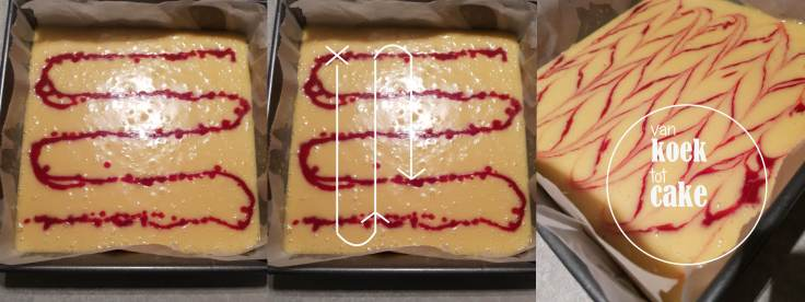 recept blondies met aardbeien swirl