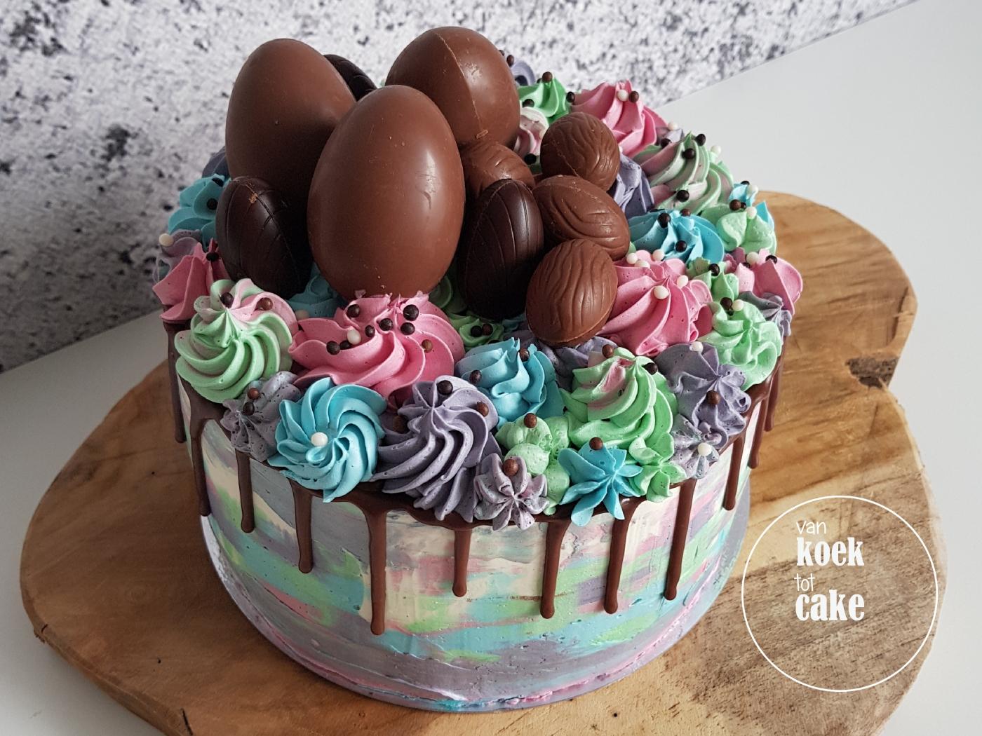 Paastaart easter drip cake