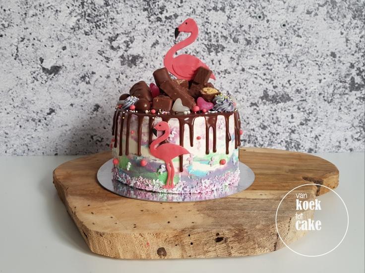 Flamingo taart drip cake verjaardagstaart