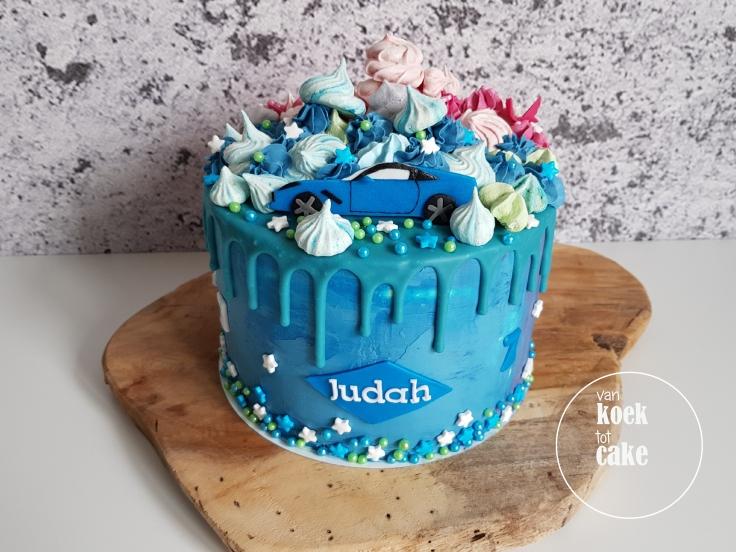 verjaardagstaart-blauw-jongen-auto-2