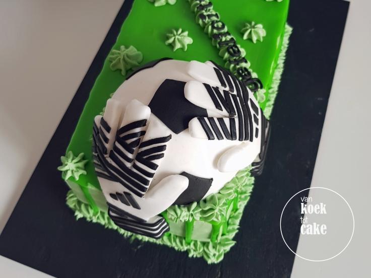 Verjaardagstaart taart keeper keepershandschoenen