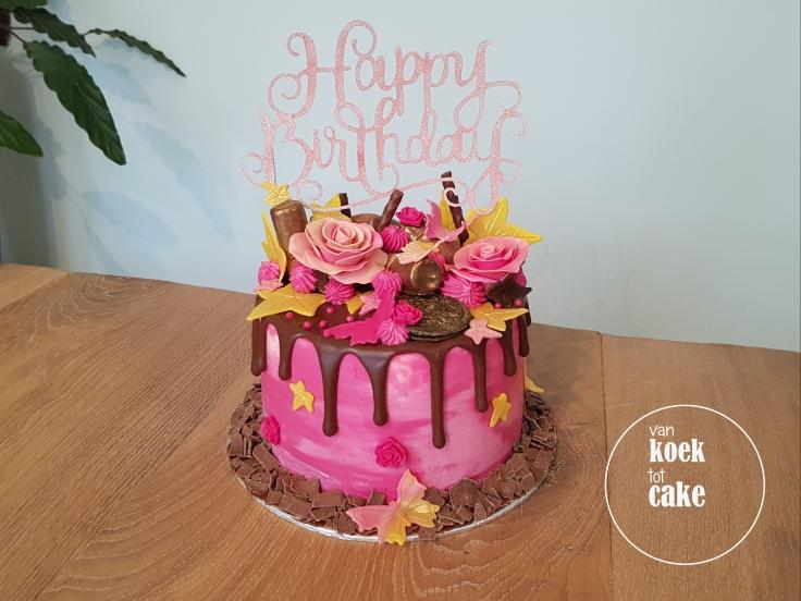 verjaardagstaart roze goud chocolade | van koek tot cake