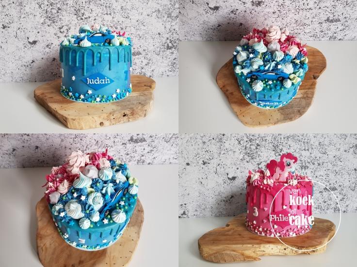 verjaardagstaart jongen en meisje in één taart