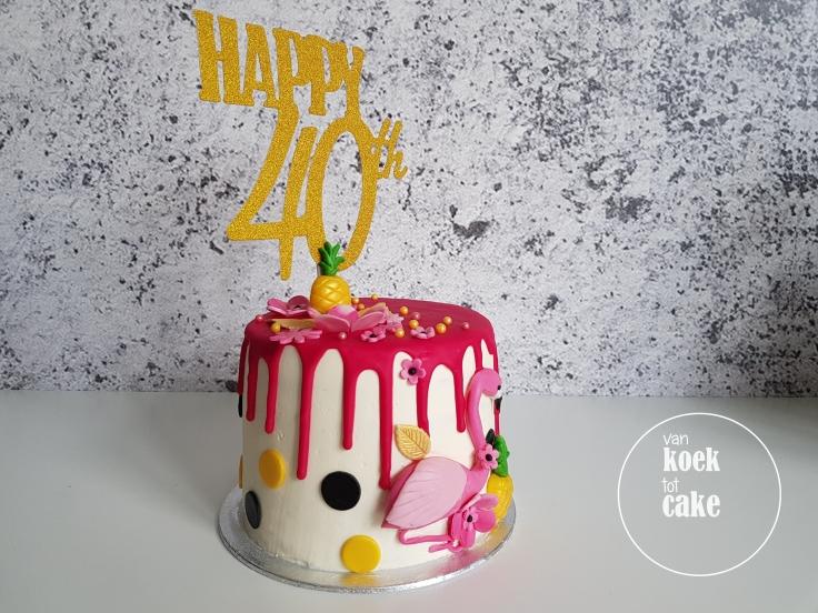 Ananas flamingo taart drip cake - van koek tot cake Middelburg