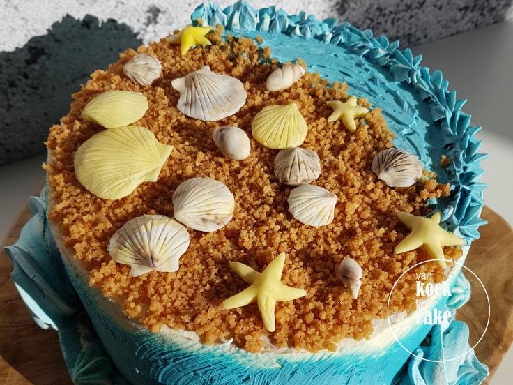 Strand taart met zandkoekjes en fondant schelpjes - van koek tot cake Middelburg