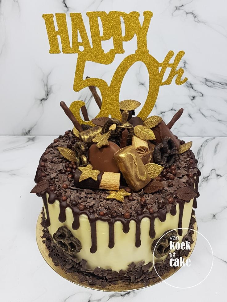 Verjaardagstaart taart 50 jaar Abraham Goud met chocolade - van koek tot cake - bestellen Middelburg Vlissingen Oost-Souburg