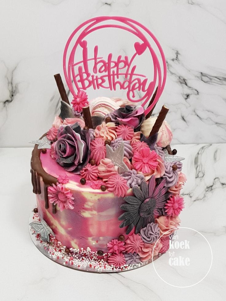Verjaardagstaart taart roze zilver met straciatellaroom - van koek tot cake - bestellen Middelburg Vlissingen Oost-Souburg