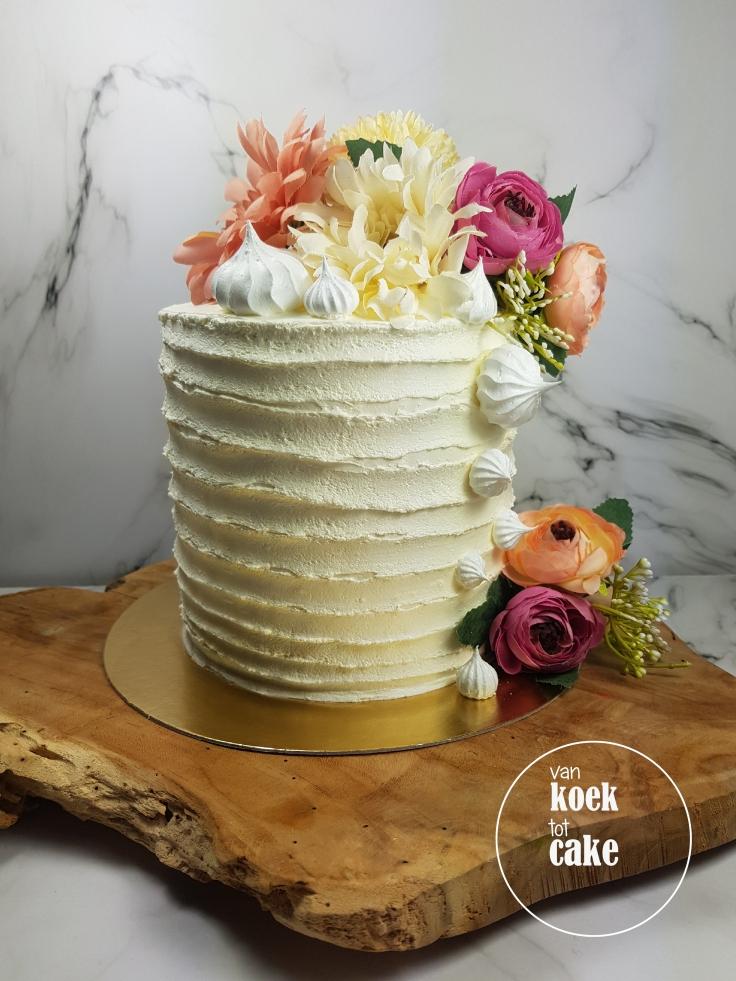 Bruidstaart | Taart met bloemen en botercreme op maat | bestellen Middelburg Vlissingen Oost-Souburg