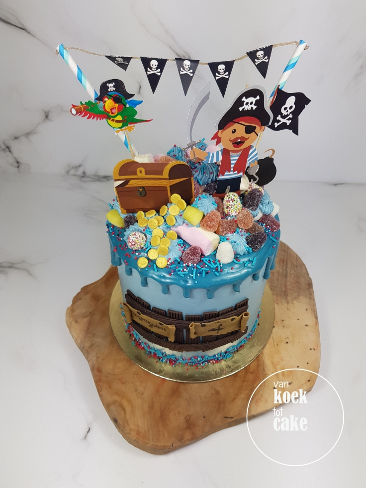 Verjaardagstaart piraten drip cake - bestellen Vlissingen Middelburg Oost-Souburg