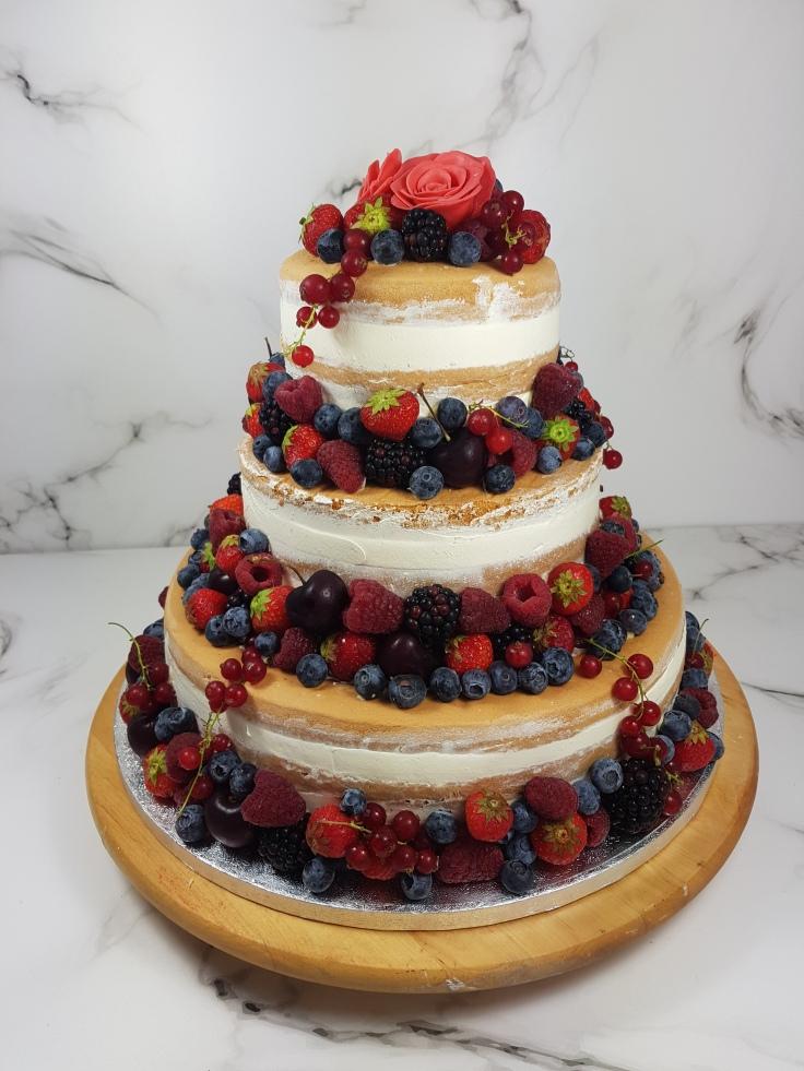 Bruidstaart naked cake rood fruit | Bruidsgebak en bruidstaart bestellen Zeeland Middelburg Vlissingen