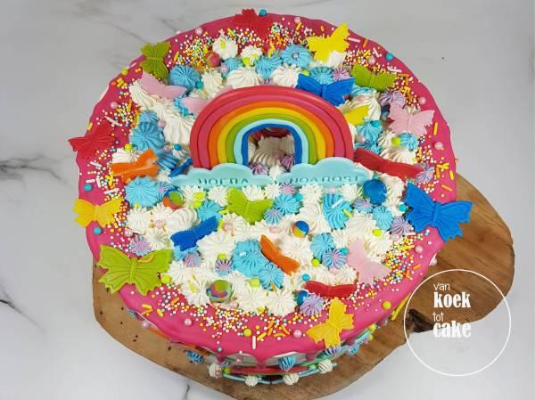 Regenboog verjaardagstaart dripcake rainbow | Bestellen Vlissingen Middelburg Oost-Souburg | van koek tot cake
