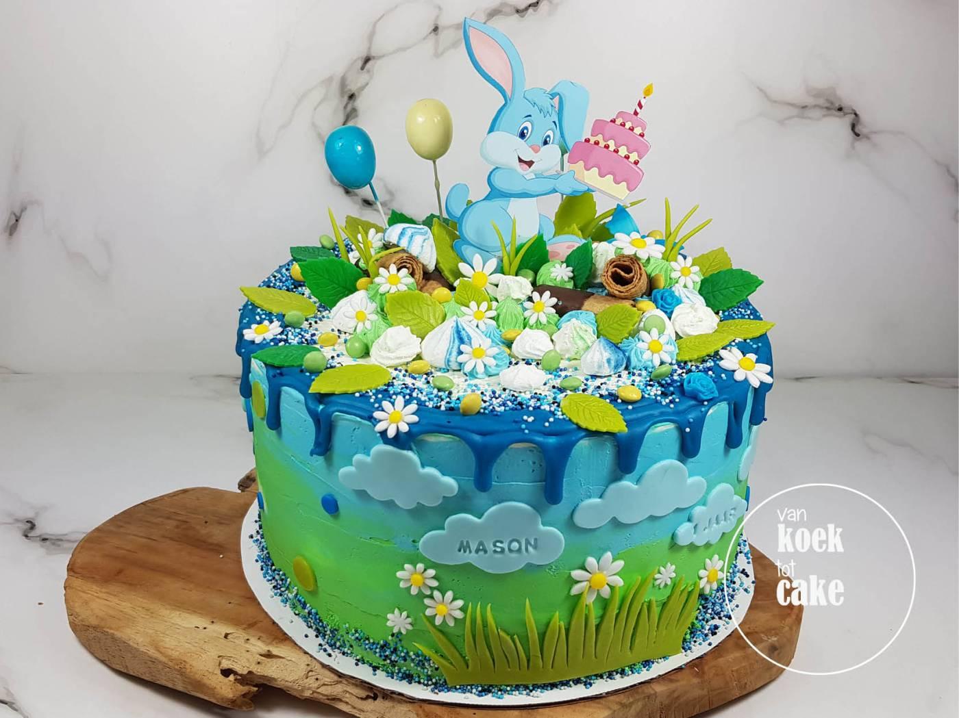 Verjaardagstaart jongen 1 jaar konijnen haasjes | bestellen Vlissingen Middelburg Oost-Souburg | van koek tot cake