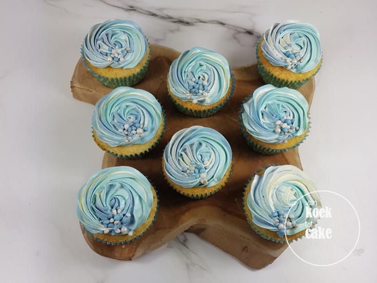 Cupcakes blauw met muisjes babyshower jongen | Bestellen Middelburg Vlissingen Oost-Souburg | van koek tot cake