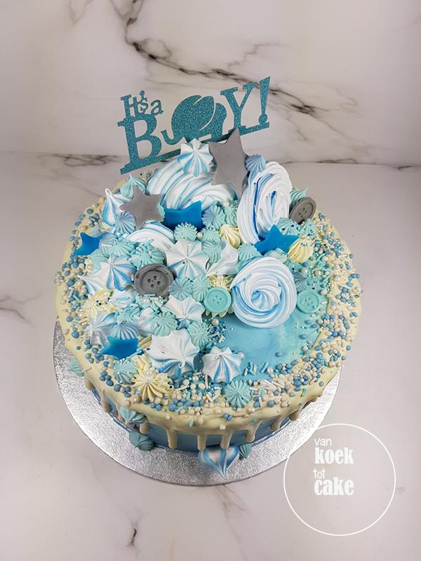 Drip cake taart blauw met muisjes babyshower jongen | Bestellen Middelburg Vlissingen Oost-Souburg | van koek tot cake
