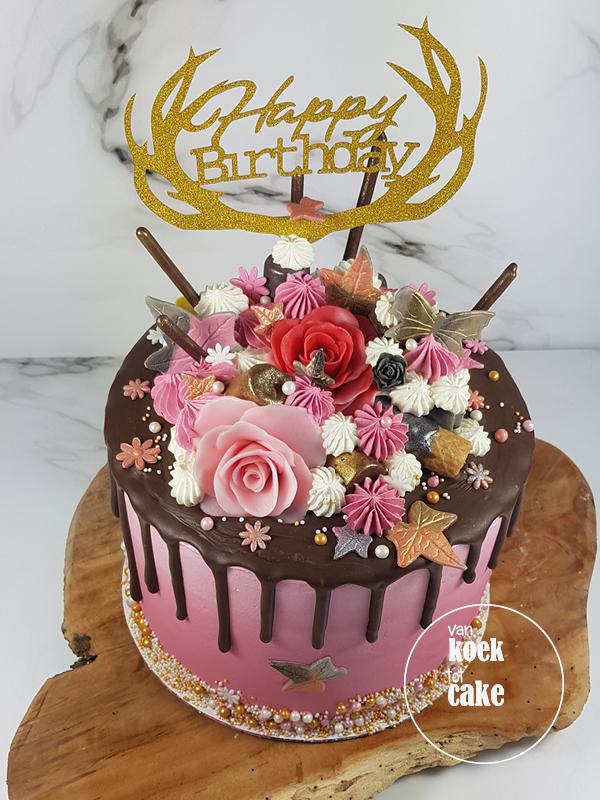 Drip cake verjaardagstaart roze goud en zilver - bestellen Vlissingen Middelburg Oost-Souburg - van koek tot cake