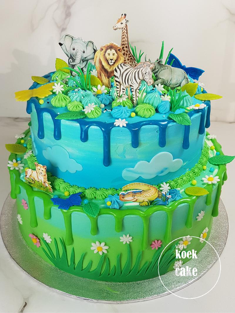 Dripcake verjaardagstaart jongen thema dieren dierentuin | bestellen Middelburg Vlissingen Oost-Souburg