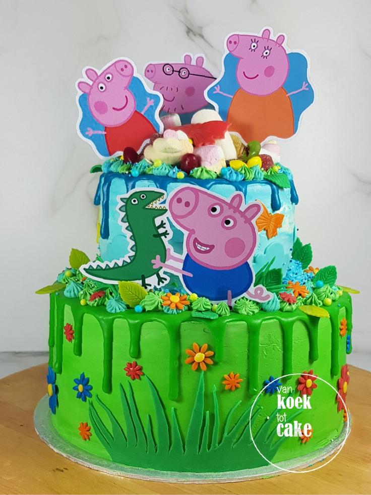 Dripcake verjaardagstaart Peppa Pig | Bestellen van koek tot cake | Middelburg Vlissingen Middelburg