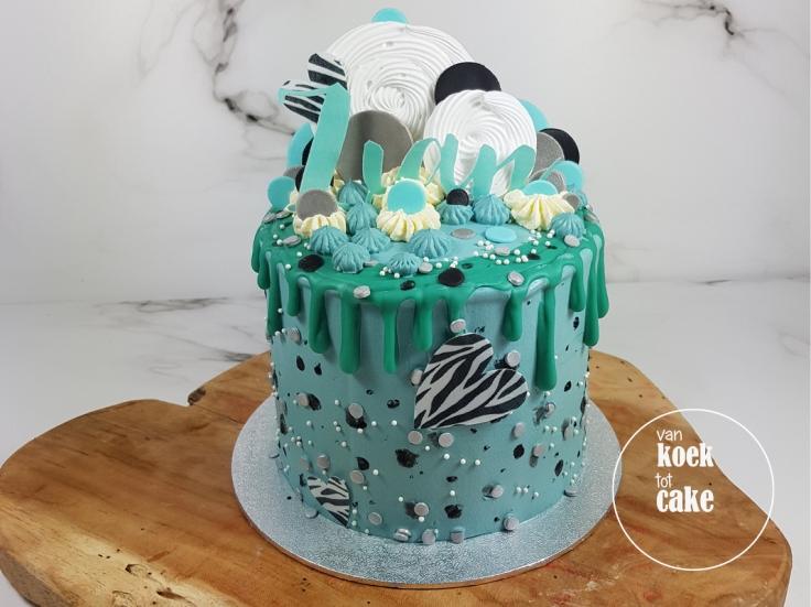 Babyshower drip cake geboorte taart jongen | bestellen Vlissingen Middelburg Oost-Souburg | Taart nagemaakt van geboortekaartje