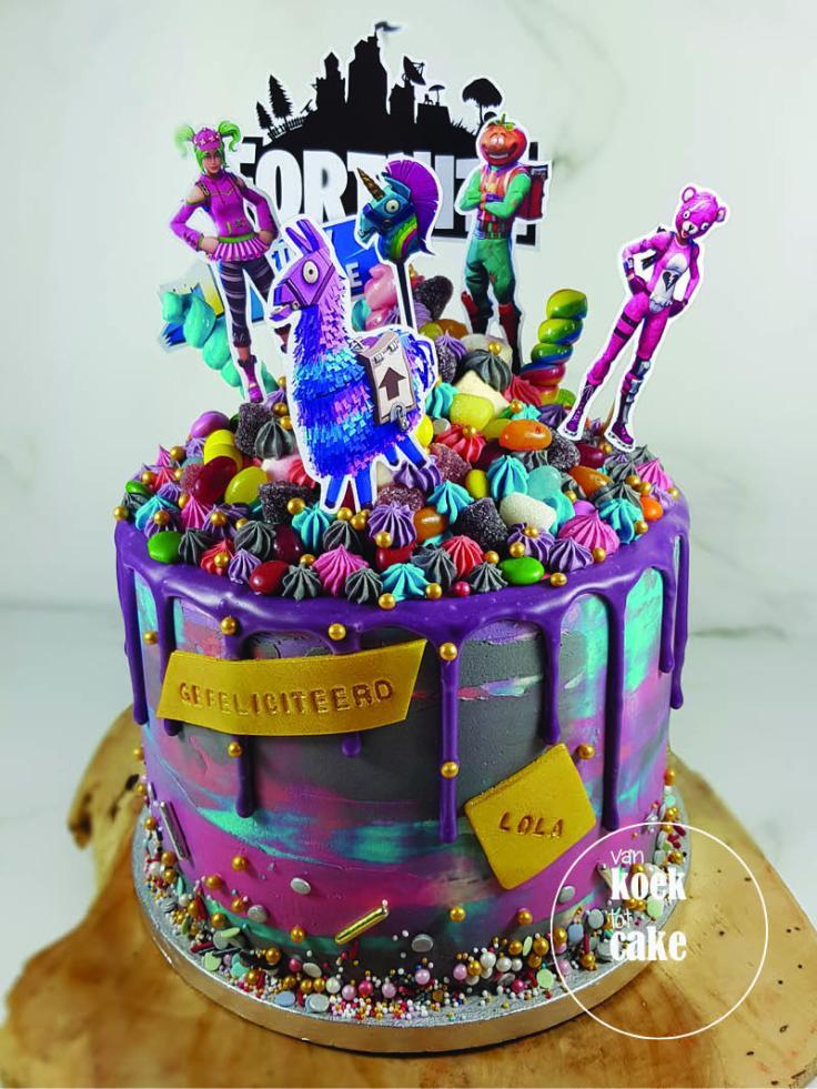 Fortnite verjaardagstaart dripcake | taart bestellen Vlissingen Middelburg Oost-Souburg | Zeeland - Walcheren