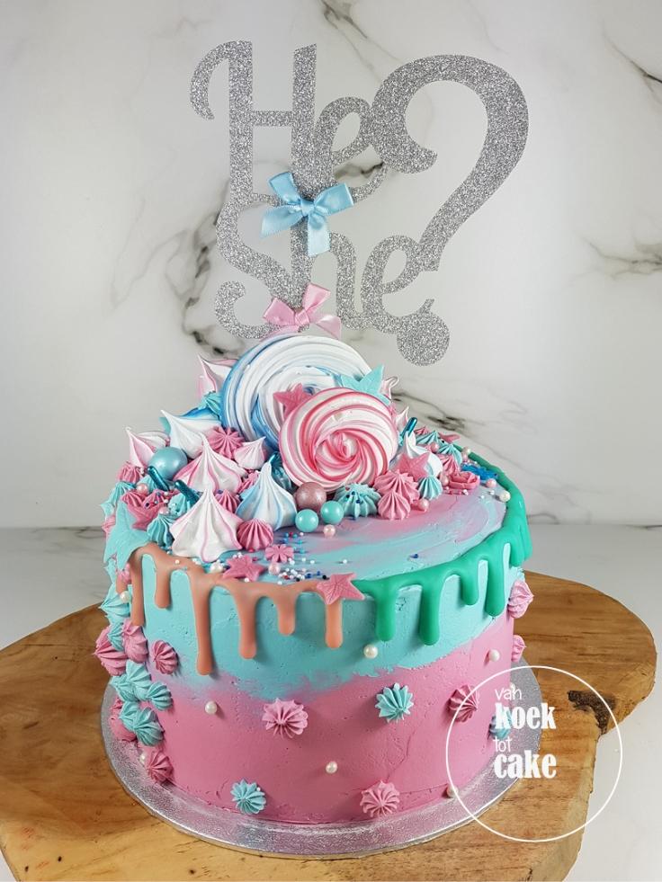 Gender reveal drip cake taart | bestellen Zeeland Middelburg Vlissingen Oost-souburg