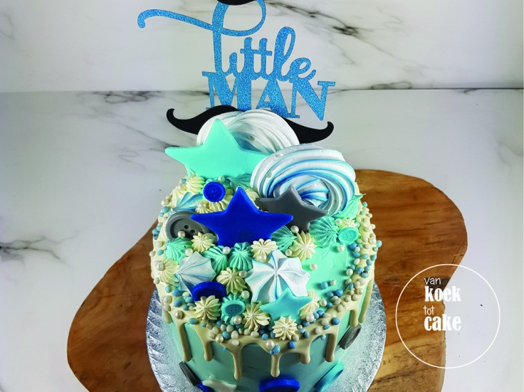 Babyshower blauwe drip cake taart geboorte jongen | bestellen Zeeland Walcheren Middelburg Oost-Souburg Vlissingen