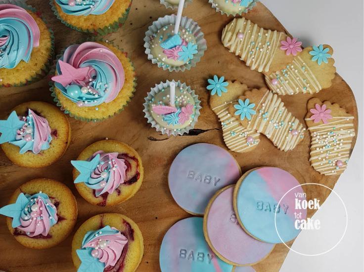 Babyshower gebak cupcakes taart koekjes en hapjes | Bestellen Zeeland Middelburg Oost-Souburg Vlissingen