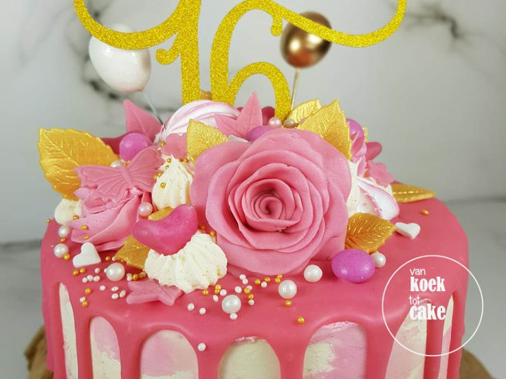 Sweet 16 verjaardagstaart drip cake - bestellen Vlissingen Middelburg Oost-Souburg Zeeland